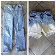 DIY High Waisted Distressed Dip Dye Bleached Shorts