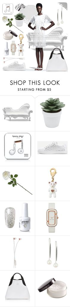"""""""White dress"""" by dmg555 ❤ liked on Polyvore featuring POLaRT, M&Co, Happy Plugs, WithChic, Betsey Johnson, Marc by Marc Jacobs, Sudio, Yoko London, Lanvin and Laura Mercier"""