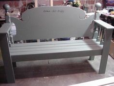 This site has a ton of ideas for making benches out of old headboards, cribs ect.. ect...