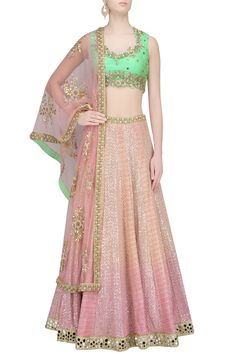 Pink shaded sequins and thread work lehenga with mint green blouse available only at Pernia's Pop Up Shop.