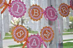Birthday Banner Girls 1st Birthday