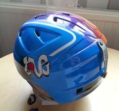 Ski helmet other side Ski Helmets, Airbrush Art, Bicycle Helmet, Skiing, Hats, Ski, Ski Hats, Hat, Cycling Helmet