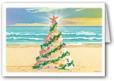 Beach Sand Castle Christmas Tree Boxed Christmas Cards
