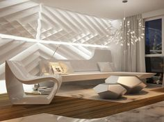 Futuristic Living Room Interior With Unique Wall Design With Texture Lovely…