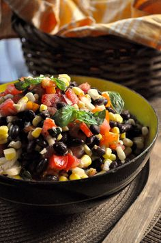 Black Bean Corn Salad Side Dish Recipe [http://hellyeahitsvegan.com/black-bean-and-corn-salad/]