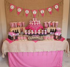 Destiny's Pink Cowgirl Party Dessert Buffet - pink bandanas!!