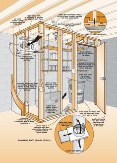 Build a Root Cellar - DIY basement doctor - Basement Storage Room, Food Storage, Root Cellar Plans, Building A Basement, Floor Framing, Homestead Survival, Emergency Preparedness, Just In Case, Vivarium