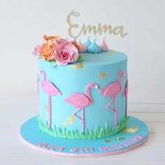 Flamingo cake 💕 Happy birthday emma Custom glitter topper Communicake It - birthday Cake White Ideen 14th Birthday Cakes, Bithday Cake, Happy 5th Birthday, Birthday Cake Girls, Flamingo Cupcakes, Flamingo Birthday, Girl Cakes, Cute Cakes, Party Cakes