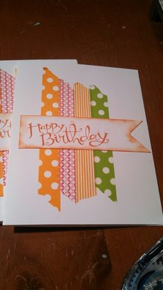Birthday card with scraps or Washi tape
