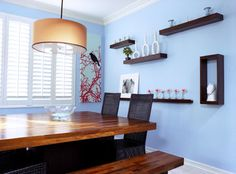 Blue with natural wood and red accents - contemporary - dining room - los angeles - Alicia Friedmann Interior Design