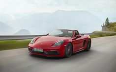 Porsche 718 Boxster GTS, 2018, sports coupe, cabriolet, roadster, new cars, red Boxster GTS, German cars, road, speed, Porsche