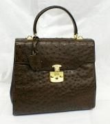 """Gucci Vintage Chocolate Brown Full Quill Ostrich """"kelly"""" Bag"""