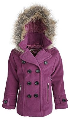 50b90c995a8 Dollhouse Little Girls Wool Look Dressy Pea Coat with Removable Hood - Deep  Orchid (Size