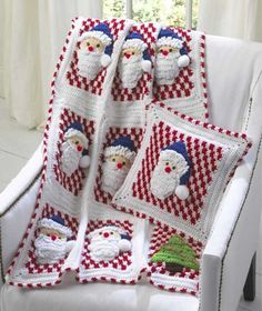 Santa Afghan Wall Hanging and Pillow Crochet PatternFamily and friends will be thrilled with the holiday items you create to decorate your home. Santa Afghan Wall Hanging and Pillow crochet set will keep the thrill going. A holiday afghan that Crochet Hooks, Knit Crochet, Crochet Afghans, Crochet Blankets, Irish Crochet, Crochet Squares, Free Crochet, Christmas Afghan, Crochet Christmas