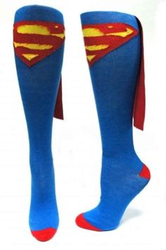 Superman Thigh High Socks Logo Size 9-11 Officially Licensed DC Comics