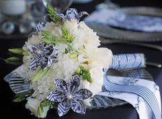 These blue and white origami flowers add a touch of fun to this bridal bouquet - DiNique Emporium Origami Flowers, The Perfect Touch, Event Styling, Something Blue, Flower Designs, Decor Styles, Bouquet, Blue And White, Colour