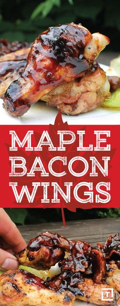 Everyone knows the best part of wings is the sauce and these wings feature a finger lickin' good sauce made with bourbon, maple syrup, and bacon. Chicken Wing Recipes, Chicken Bacon, Chicken Wings, Cola Chicken, Chicken Breasts, Baked Chicken, Sticky Chicken, Coconut Chicken, Chicken Ideas