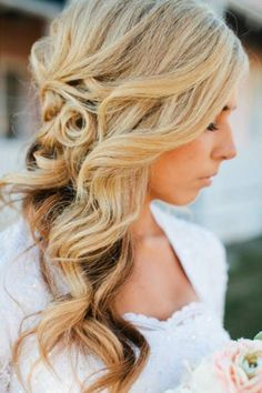 How to Wear Curly Long Hair Wedding Hairstyle