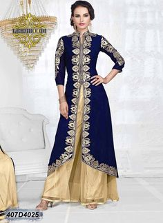 Charismatic Navy Blue and Beige Coloured Georgette Semi-Stitched Designer Salwar Suit