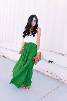 Green Pleated Maxi Skirt- Gal About Town- Dallas Fashion Blog