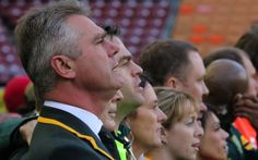 Springbok Coach Heyneke Meyer sings along passionately to the national anthem. 2015 Rugby World Cup, National Anthem, Singing, National Anthem Song