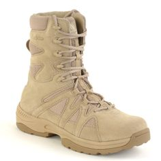 Altama Tan Desert 8 inch EXO Boot 3858: Independent lab test results indicate that the EXO style (3858) has an average MVTR (Moisture Vapor Transmission Rate) of 12.49 grams per hour compared to the 3 Layer Hot Weather Military Boot (4158) at 5.58 grams per hour. In other words, the new EXO boots are 124% more breathable than the current issue military boots with drainage vents.