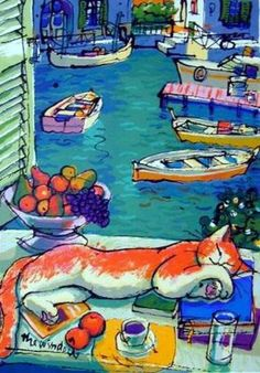 Cat in the window painting. Michael Leu - The Window
