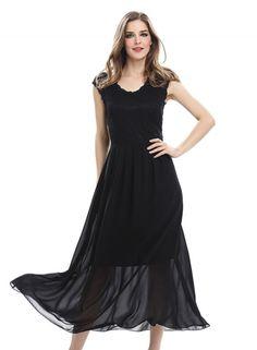 Round Neck Lace Panel Chiffon Maxi Dress