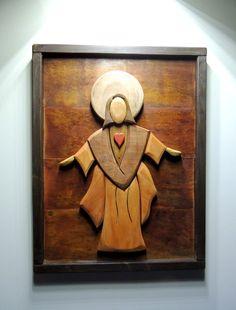 Quadro Divino esplendor madeira chique rústico no Catholic Altar, Intarsia Wood, Wood Carving Patterns, Cnc Projects, Art Carved, Scroll Saw Patterns, Wood Ornaments, Wood Crafts, Design Art
