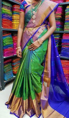 Items similar to Uppada silk saree Uppada pattu saree Uppada sarees Uppada srees Uppada silk Uppada pattu Uppada silk saree Stitched blouse Request on Etsy - Uppada silk sarees are the most popular sarees, with no wedding or important occasion. Kerala Saree Blouse Designs, Wedding Saree Blouse Designs, Blouse Designs Silk, Wedding Sarees, Seda Sari, Latest Silk Sarees, Kanjivaram Sarees Silk, Wedding Saree Collection, Bridal Silk Saree