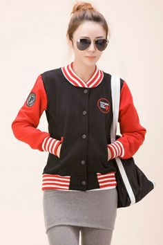 Color Block Baseball Jacket With Embroidered Detail OASAP.com