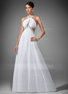 A-Line/Princess Scoop Neck Sweep Train Chiffon Prom Dress With Ruffle Beading (018002320) - JJsHouse