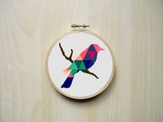 Modern Counted Cross Stitch Pattern   Colourful Patterned Bird Silhouette   Instant Download PDF Please note that this is for a digital