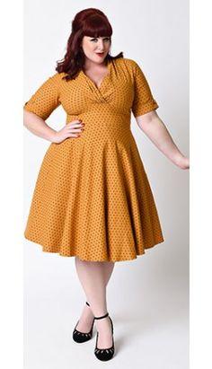 Unique Vintage Plus Size 1950s Style Mustard & Black Dot Delores Swing Dress