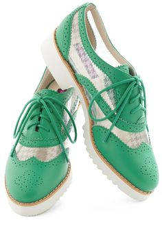 Fore! Shoe - Green, White, Solid, Houndstooth, Menswear Inspired, Lace Up, Low, Leather, 90s