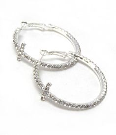 Crystal cross hoop earrings.  FREE SHIPPING today only. These are under for today only 02/22 ''SNAG ME'' Free shipping https://allaboutyougifts.com/#ref=HeidiGallagher Put Heidi Gallaghers Party in comments when you purchase