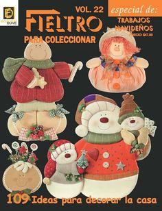 Revista - Fieltro Book Crafts, Felt Crafts, Craft Books, Sewing Magazines, Cross Stitch Books, Plastic Canvas, Halloween, Santa, Teddy Bear