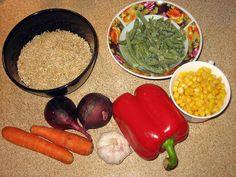 Коричневый рис с овощами - плов