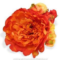 髪飾り・ヘッドドレス/芍薬のヘッドコサージュ(オレンジ) - ウェディングヘッドドレス&花髪飾りairaka