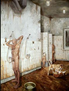 Jarmo Mäkilä (Finnish, b. 1952), Miesten vuoro [le Shift Men], 2008. Huile sur toile, 203 x 151 cm