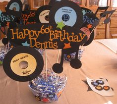 50's Centerpieces - made with Cricut...not sure what cartridges...maybe Nifty Fifties? 50th day of school