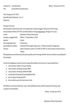 Contoh application letter untuk job fair