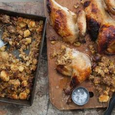Mexican Thanksgiving Turkey with Chorizo, Pecan, Apple, and Corn Bread Stuffing _ For a Mexican twist on Thanksgiving, cook the turkey in banana leaves. Pati Jinich of Pati's Mexican Table gives Thanksgiving turkey a Mexican twist with citrus, achiote paste and banana leaves.