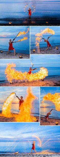 Feuershow für die Hochzeit an der Ostsee. Bilder: © Ernst Merkhofer