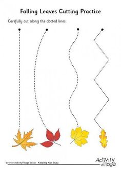 Children can practice their scissor skills by cutting along the dotted lines to reach (but not cut through) the falling autumn leaves at the end.Practice those scissor skills with our fun cutting activities! Fall Preschool Activities, Preschool Writing, Preschool Projects, Homeschool Kindergarten, Preschool Worksheets, Preschool Learning, Learning Activities, Tracing Worksheets, Dementia Activities