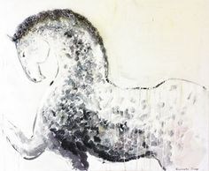 Original oil painting, horse art, DAPPLE GRAY HORSE, modern artwork by Elisaveta Sivas, large paiting, 39,4' x 47,2'. €436,00, via Etsy.  http://www.etsy.com/listing/79098314/original-oil-painting-horse-art-dapple?ref=sr_gallery_2_includes%5B%5D=materials_search_query=Dapple+gray+horse_search_type=all_view_type=gallery