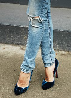 Blue velvet Louboutin pumps and blue jeans...I can die happy!!