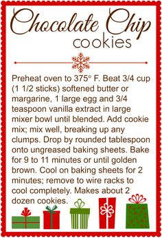 Chocolate Chip Cookies in a Jar Printable