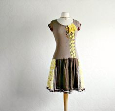 Brown Boho Dress Yellow Floral Upcycled by BrokenGhostClothing,