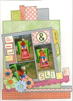 Slip & Slide - Scrapbook.com - Fun page. #scrapbooking #layouts